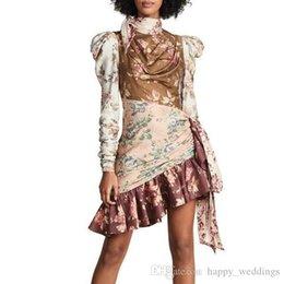 $enCountryForm.capitalKeyWord Australia - Print Dresses Female Puff Sleeve High Waist Hollow Out Lace Up Asymmetrical Ruffle Dress Women Autumn