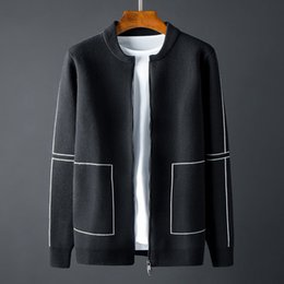 sweater zippers NZ - New Stand Collar Mens Sweaters Luxury Baseball Collar Zipper Sweater Male Autumn And Winter Slim Sweaters Man plus size 4XL