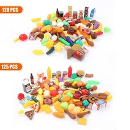 pretend toys Australia - New 125 pcs Children Pretend Play Toys Food Cake Fruit Drink Vegetable Kitchen Cooking Early Education Toy For kids