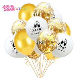 balloons married NZ - 123 Party 15Pcs Wedding Decoration Confetti Balloons Mr to Mrs Printing Just Married Balloon Party Decorations