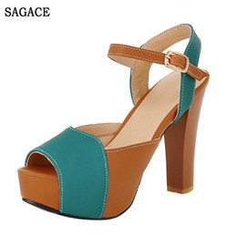 Thick Sole Sandals Australia - SAGACE Summer Women's Sandals High Heels Thick-Soled Fish Mouth Ankle Strap Sexy High Quality Outsid Ladies Heel Shoes