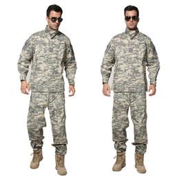 Camouflage Combat suit online shopping - Tactical Uniform ACU Digital Camouflage Suit Combat Hunting Clothing Set Training Uniform