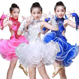 professional white dancing dresses UK - Girls Sequin Fringe Professional Latin Salsa Cha Cha Ballroom Dance Competition Dress Costumes for Kids Dancing Clothes Clothing