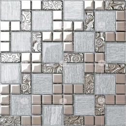 Backsplash Tiles For Kitchens Australia - European style silver threads+silver plating crystal glass mosaic tile for kitchen backsplash store decoration living room sofa backdrop