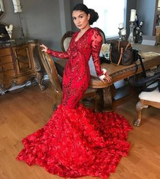 Red Sequins Applique Mermaid Prom Pageant Dresses with Long Sleeve 2019 Sexy 3D Floral Flowers African Occasion Prom Party Gown