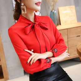 red cap clothes Australia - Blouse Women Tops 2019 Long Sleeve Chiffon Long Sleeve Womens Shirt Bow Patchwork Women Clothing White And Red Color Blouse 0726 30