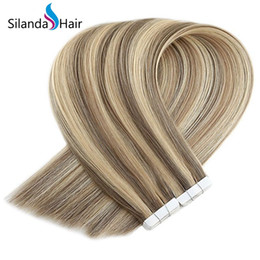 $enCountryForm.capitalKeyWord Australia - Silanda Hair Piano Color #P14 24K Straight real hair extensions invisi tape Extensions 20 Pcs pack Free Shipping