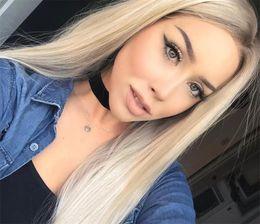 Dark Roots Hair Australia - 1B 613 Blonde Full Lace Human Hair Wigs Dark Roots Stright stright Lace Front Wig Brazilian Two Tone Wig For Black Women