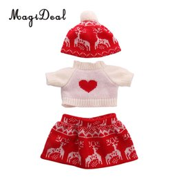 $enCountryForm.capitalKeyWord NZ - 18inch American Doll Festival Party Clothing - Lovely Sweater Tops & Knitted Printed Skirt Hat Outfits For Our Generation Doll