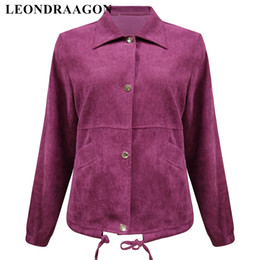 ladies corduroy jackets Canada - Red Motorcycle Autumn Winter Baseball Outerwear Ladies Party Club Coats Corduroy Bomber Women Clothing Vintage Flying Jackets