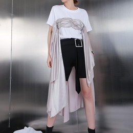 white shirt unique stylish 2019 - 2019 European Fashion Women Stylish White Tee Top With Draped Part Stitched Female Unique Casual Wear T-shirt Style Femm