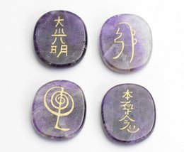engraving block NZ - 35 x 30 x 7 MM Natural Chakra Amethyst Carved Crystal Healing Oval Palm Stones Engraved Usui Reiki Symbols with Free Pouch