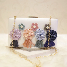 $enCountryForm.capitalKeyWord Australia - Elegant Ladies Flower Tassel Evening Clutch Bag with Chain Shoulder Tote Bag Women's Handbags Purse Wallet for Wedding