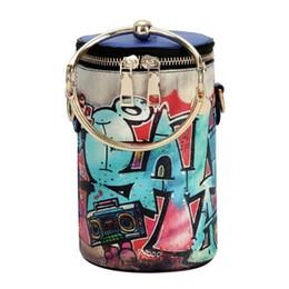 Graffiti Women Bag Round Metal Ring Handle Shoulder Handbags PU Leather  Cylindrical Chain Messenger Bags graffiti bag 7681a09e39588