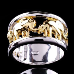 Bijoux Wedding NZ - 2018 Bohemian Male Ring Gold and Silver Color Elephant Rings for Men Wedding Anel Engagement Statement Anillos Bijoux
