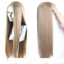 straight blonde synthetic wig Australia - Blonde Straight Hand Tied Synthetic pelucas Lace Front Wig 13*3 Inch Glueless Heat Resistant Fiber Hair Middle Part F