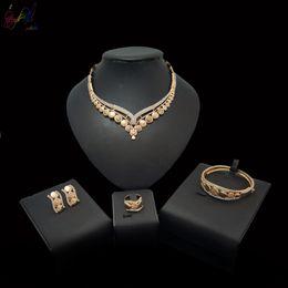 $enCountryForm.capitalKeyWord Australia - Yulaili Luxury Women African Crystal Trendy Flower Choker Necklace Earrings Dubai Jewelry Sets for Women Nigeria Bride Wedding Jewelry Sets