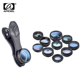 smartphone camera lens NZ - Apexel 10 In 1 Phone Camera Lens Kit Fisheye Wide Angle Macro Lens Cpl Filter Kaleidoscope And 2x Telescope Lens For Smartphone J190704