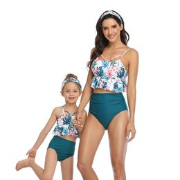 flower bikini woman NZ - Mom Daughter Bikini Mother Girl Flower Swim Wear Women Kids Swimsuit Bathing Beachwear Family Match Outfits S472