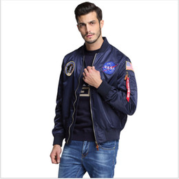 Wholesale college jacket men resale online – Outdoor new men s clothing spring Autumn thin NASA Navy flying jacket man varsity american college bomber flight jacket for men