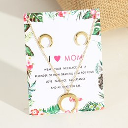 Chain Sets Figaro Australia - Creative Moon Necklace Ear Nail Set Elegant Moon Pendant Necklace Ladies Choker Chain Jewellery with Greeting Card-A054