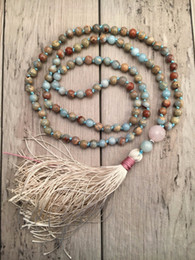 $enCountryForm.capitalKeyWord NZ - Aqua Terra Jaspers Hand Knotted Necklace 108 Mala Bead Necklace Tassel Necklaces Yoga Mala Meditation Jewelry Prayer Necklaces J190702