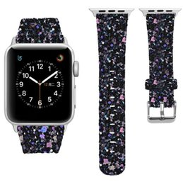 band straps Australia - For Apple Watch Series 3 2 1 Leather Bling Luxury Iwatch Band Wristwatch Bracelet Strap Shiny Glitter Power 38mm 42mm