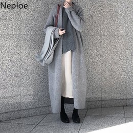 Wholesale maxi cardigan sweaters for sale - Group buy Neploe Cardigans Autumn Winter New Maxi Sweater Loose Slim Crazy Style Pull Femme Thick Casual Long Sleeve Coat T200319