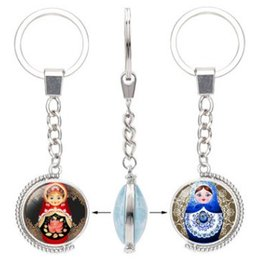 Russia Coin Australia - DOUBLE-FACED ROTATABLE CRYSTAL RUSSIA BABY KEYCHAIN KEYRING AWESOME KEY ACCESSORY KEY CHAIN KEY RING CABOCHON PRECIOUS STONE STYLE ARTWORK
