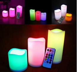 "flameless candles remote Australia - 3pc lot LED Flameless Candles 4"" 5"" 6"" Pillar Color Changing Remote Glow Wedding Home Bar table Décor LED Candle"