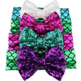 Headbands Bow Australia - Fashion Kids Girls Mermaid Elastic Headband Fish Sequined bow Hairbands Sequins Headbands Hair Band Accessories T10C002