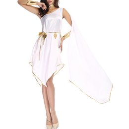 goddess dresses white NZ - Greek Goddess Halloween White Goddess Elegant Irregular Dress Game Uniform Suit Stage Role-playing Dress Party Dress Clothing