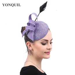 vintage headpieces hats UK - Vintage formal dress party hair fascinator hat women wedding hair clip headpiece with hoops accessories race derby show hat