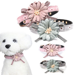 small dog collar flowers Australia - Personalized Dog Cat Wedding Collar Flower Print Custom Kitty Collar Pet Wedding Accessories Small Medium Dog Collare Catena D40