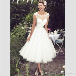 eb3ccd2a64db White Organza Short Country Wedding Dresses 2018 Elegant Tea Length See  Through Beach Bridal Dresses Customize Cap Sleeve Bridal Gowns