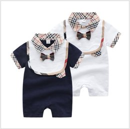 $enCountryForm.capitalKeyWord Australia - 2 Pcs Set Baby Boys Girls Brand Clothes Kids Rompers+Bib Cotton Infant Baby Clothing Sets Summer Toddler Newborn Suits Outfits 0-24Months