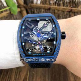 Hollow Fiber Australia - 6 colors new Vanguard V 45 T GR Automatic Mens Watch Luminous color fiber case 44mm Hollow dial Rubber strap Gents sport Watches