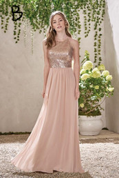 golden chiffon gowns 2019 - Rose Golden A Line Bridesmaid Dresses 2019 Simple Long Chiffon Bridesmaid Gowns Jewel Neck Off the Shoulder Wedding Gues