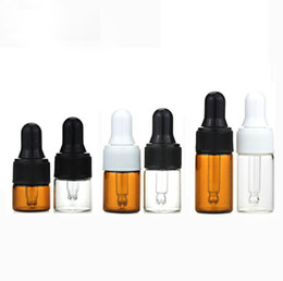 $enCountryForm.capitalKeyWord Australia - Factory Price Empty Mini Essential Oil Glass Vial Bottle 2ml Amber Clear Small Sample Glass Bottles With Dropper Cap DHL Free