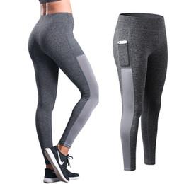 Womens White Yoga Pants NZ - Side Pocket Yoga Pants Elastic Sport Leggings Breathable Runing Seamless Leggings Womens Gym Patckwork Yoga