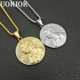 $enCountryForm.capitalKeyWord NZ - Hip Hop Iced Out Lincoln Coin Pendant Necklace For Men Gold Color Stainless Steel American Jewelry Male Gift