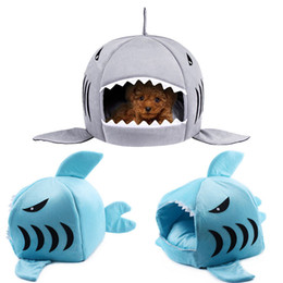 casa de tiburones al por mayor-1 UNID Shark Pet House Dog Bed Cama de Gato Esteras Pet Pet Sleeping Sofá Cama Small Medium Pet Bed Kitten Interior Casa Perrera Lavable Mat