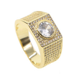 Hip Wedding Rings NZ - Fashion Gold Colors Classic Men's Punk Style Hip Hop Ring Band Cool big cz stone Ring lover wedding Jewelry sparkling cz paved