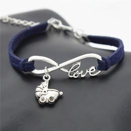 Bracelets Lovely Charming Australia - Build You Own Charm Dark Navy Leather Rope Bracelets & Bangles Trendy Women Men Infinity Love Babies Pram Buggy Lovely Baby Carriage Jewelry