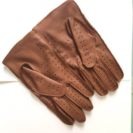 warm leather mittens Australia - Fashion-Free shipping Men's Fall and Winter Genuine Leather Gloves New Fashion Brand Brown Warm Driving Unlined Gloves Goatskin Mittens