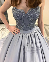 Grey Satin Evening Gown Australia - Grey Ball Gown Prom Dresses 2019 Vintage Lace Appliques Plus Size Long Satin Arabic African 2019 Girls Formal Evening Party Gowns