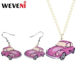 pink car set UK - WEVENI Acrylic Pink Car Necklace Earrings Jewelry Sets Cartoon Toy Decorations For Girl Teens Charm Party Gift Accessory
