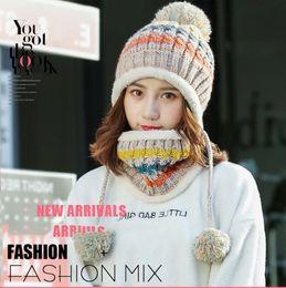 $enCountryForm.capitalKeyWord Australia - Winter knitted Beanies Hats Women Thick Warm Beanie Skullies Hat Female knit Letter Bonnet Beanie Caps Outdoor Riding Sets