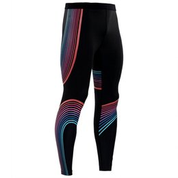 Fitness Leggings Lycra Australia - Streamer color Compression Tights Pants Men Gyms Fitness Sporty Leggings Male Joggers Workout Skinny Trousers Sportswear Bottoms
