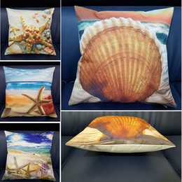 $enCountryForm.capitalKeyWord Australia - Mediterranean Sea Beach Style Printed Shells Starfish High Quality Cushion Cover Linen Cotton For Sofa Car Home Decor Pillowcase